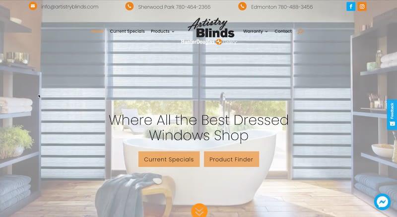 Artistry Blinds Website Screenshot