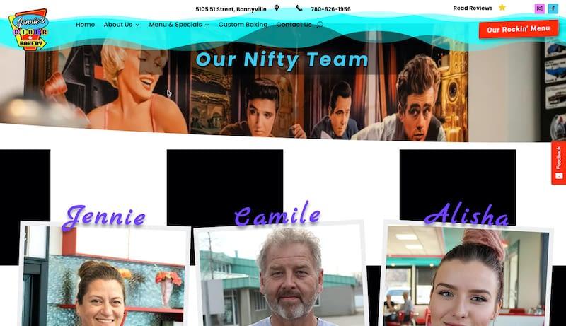 Jennies Diner Website Screenshot